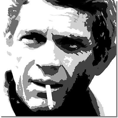 BULLITT STEVE McQUEEN POP ART HANDGEMALTES BILD 80x80 LEINWAND CANVAS PAINTING