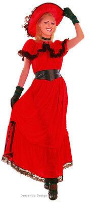 Damen Rote Viktorianisches Kostüm Scarlett Ohara Kostüm Lang Sommer 12 -14 Neu