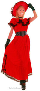 LADIES-LONG-RED-VICTORIAN-SUMMER-FANCY-DRESS-COSTUME-OUTFIT-HAT-10-12-NEW