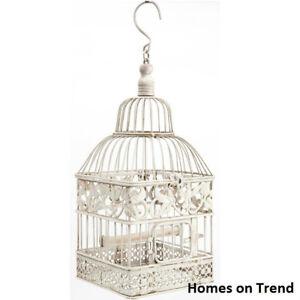 Decorative Square Ivory Metal Bird cage Vintage Chic Wedding Table Centerpiece