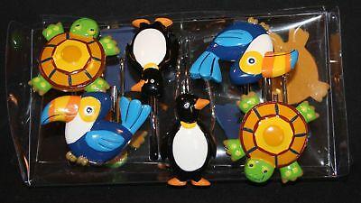 Jenny Jeff Zoo Turtles Penguins Parrots Etc Colorful Shower Curtain Hooks