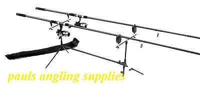 Max Carp Fishing Set 2 Rods 2 Reels 2 Alarms Rod Pod Indicators