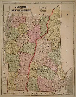 1856 Genuine Antique map of Vermont & New Hampshire. C. Morse