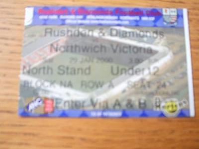 29/01/2000 Ticket: Rushden And Diamonds v Northwich Vic