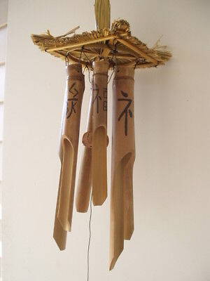 Bamboo Wind Chimes Tiki Thatch Top Chinese Symbols FREE SHIP