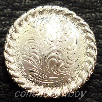 """Set of 6 WESTERN BRIGHT SILVER ROUND ROPE EDGE SADDLE CONCHOS 5/8"""" screw back"""