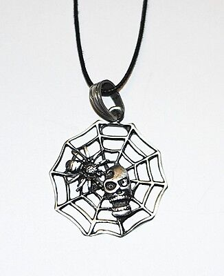 Hand Made Pewter Spider Cobweb Pendant & Free Necklace