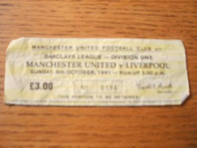 06/10/1991 Ticket: Manchester United v Liverpool  (Heav