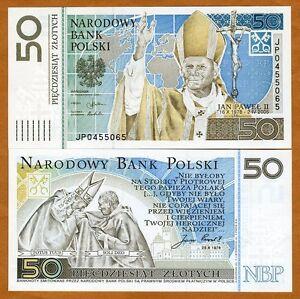 Poland-50-Zlotych-2006-Pick-178-Folder-UNC-John-Paul-II