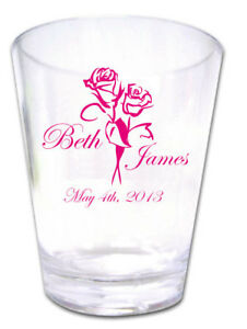 100-PERSONALIZED-Custom-Roses-Wedding-FAVORS-Plastic-Shot-Glasses