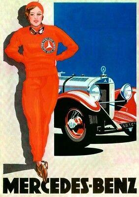 Farb-Plakat: Mercedes-Benz (Rennsport), 1928