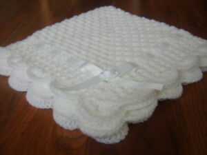 Handmade baby crochet pram blanket pure white NEW