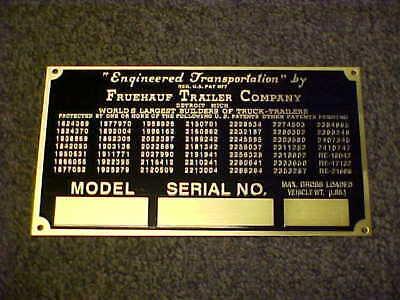 Fruehauf Trailer Data & Patent Plate 1940's - 1950's