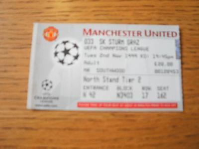 02/11/1999 Ticket: Manchester United v Strum Graz [Euro