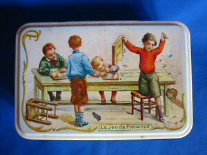 Boite Sucre Fer M Tal Tin Box Decor Les Jeux Anciens Ebay