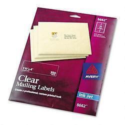 "Avery 8662 Clear Easy Peel Labels Inkjet 1 1/3"" x 4"" (OPEN PACK 224 Labels Left)"