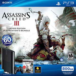 New Sony PlayStation 3 500GB Assassin's Creed III Bundle