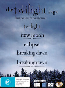 Twilight Saga The Complete Collection 1+2+3+4:Breaking Dawn Pt.1&2 =NEW R4 5-DVD