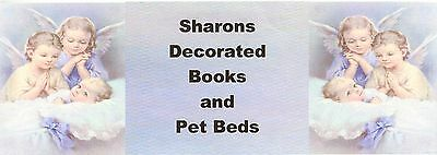 sharons decorated books and pet bed