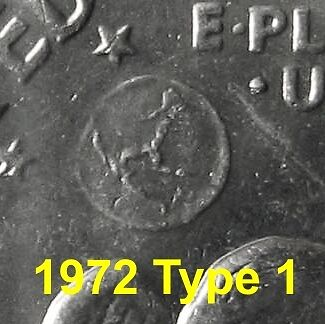 1972 Type 1, 2, 3 Eisenhower Dollars