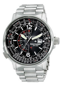 Mens Citizen Eco-Drive Nighthawk Stainless Steel Black Dial Watch BJ7000-52E