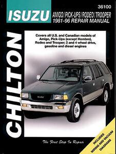 chilton repair manual isuzu amigo pick ups rodeo trooper 1981 rh ebay com isuzu amigo 1993 manual isuzu amigo 1993 manual