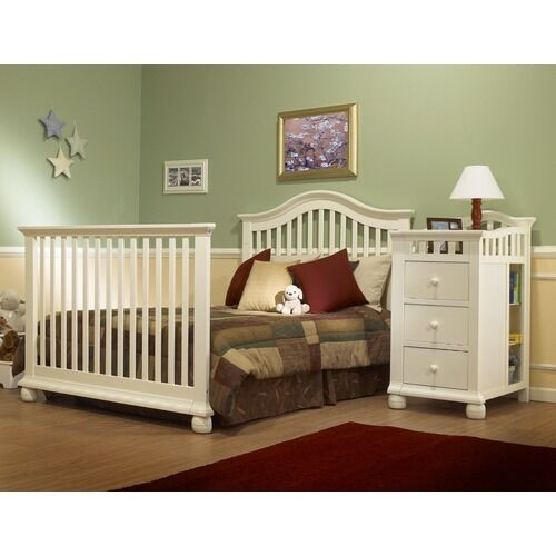 available in espresso and french white finishes the sorelle crib changer combo looks elegant with its arched headboard solid rails and round bun feet - Sorelle Cribs