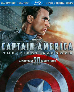 Captain America:The First Avenger 3D (Blu-ray/DVD, 2011, 3-Disc) NEW