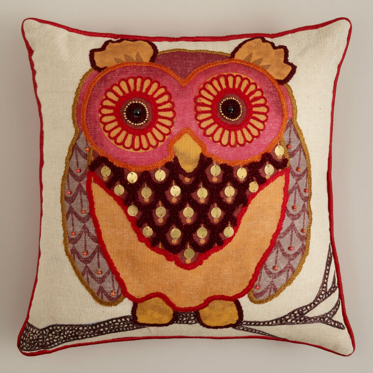 Applique Owl Accent Pillow