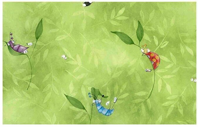 wallpaper caterpillar. CHILDRENS WALLPAPER CATERPILLAR BUGS GREEN GRASS LEAVES | eBay