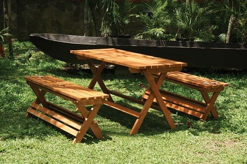 wooden bench and table set 2