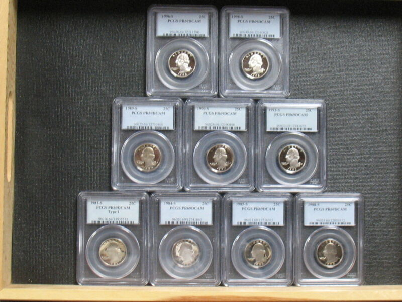 ASST. WASHINGTON QUARTER PROOFS - 9 SPECIMENS PCGS GRADED - FREE SHIPPING!!
