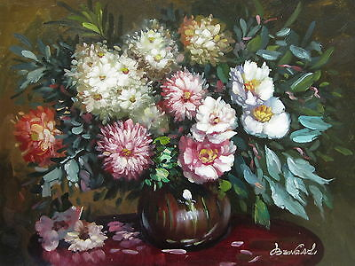 "Gamlingay Flowers Original Hand Painted 12""x16"" Oil Painting Floral Canvas Art"