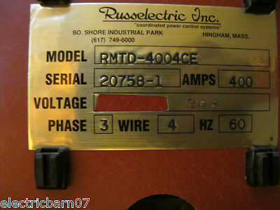 Russ Electric 400 Amp 208 Volt Automatic Transfer Switch - Ats51