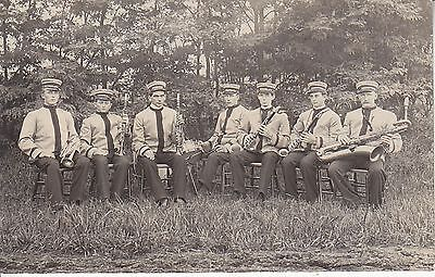 RPPC 7 man band 6 wind instruments 1 drum music 9808