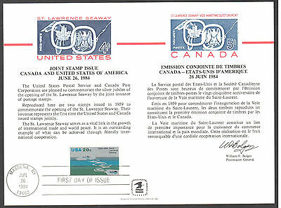 SC96/PS51 Souvenir Card 25th Anniversary St. Lawrence Seaway USPS Cancellation