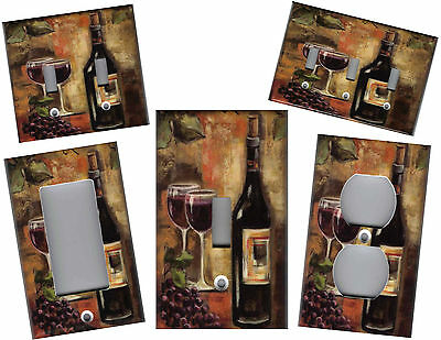 - TUSCAN WINE BOTTLE WITH GLASSES - TUSCAN KITCHEN HOME DECOR LIGHT SWITCH PLATES