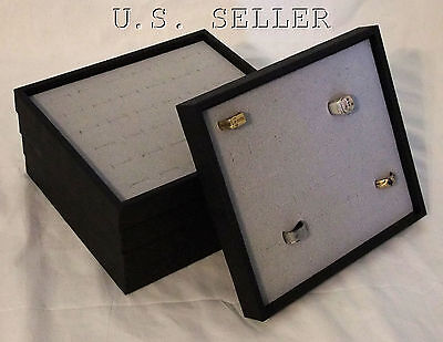 5 Quantity Jewelry Trays With Gray 36 Ring Inserts