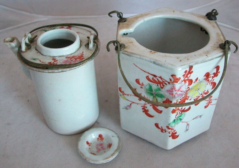 """4.65"""" Antique Chinese Famille Rose Hexagon Wine Pot or Teapot w/ Metal Handles"""
