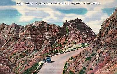 Badlands National Monument, South Dakota, Nat. Park 1938 Pres Roosevelt Postcard ()
