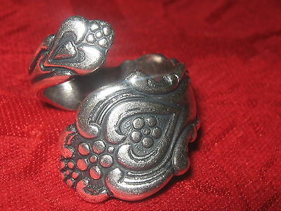 -  ANTIQUE VINTAGE STYLE SILVER PLATED HEART SPOON RING SIZES 4 - 10 ADJUSTABLE