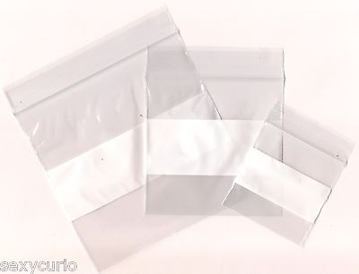 100 Packing Bags Clear White Label Write Zip Lock Plastic 2 3 4 5 6 Inches 2 Mil