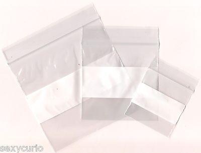 100 New White Label Block Zip Lock Storage Reclosable Plastic Baggies Lot