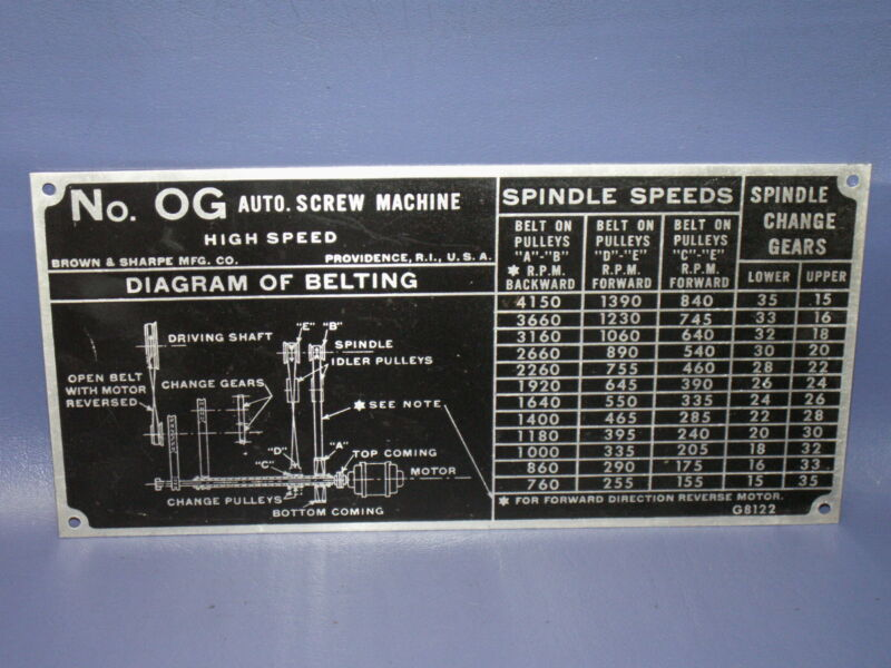 BROWN & SHARPE OG BELT DRIVE SPINDLE SPEED GEAR CHART, FOR SCREW MACHINES S/N