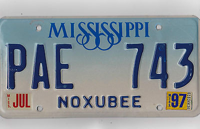 PAE 743 =July 1997 Noxubee County Mississippi License Plate    $4.00 US Shipping