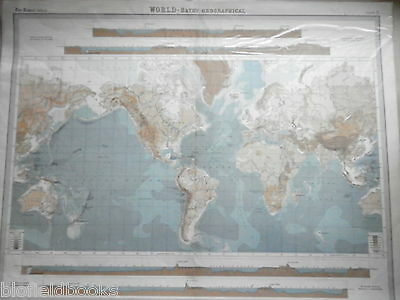 Original 1925 Antiquarian World Bathy Orographical Map - Times Atlas, Seabed