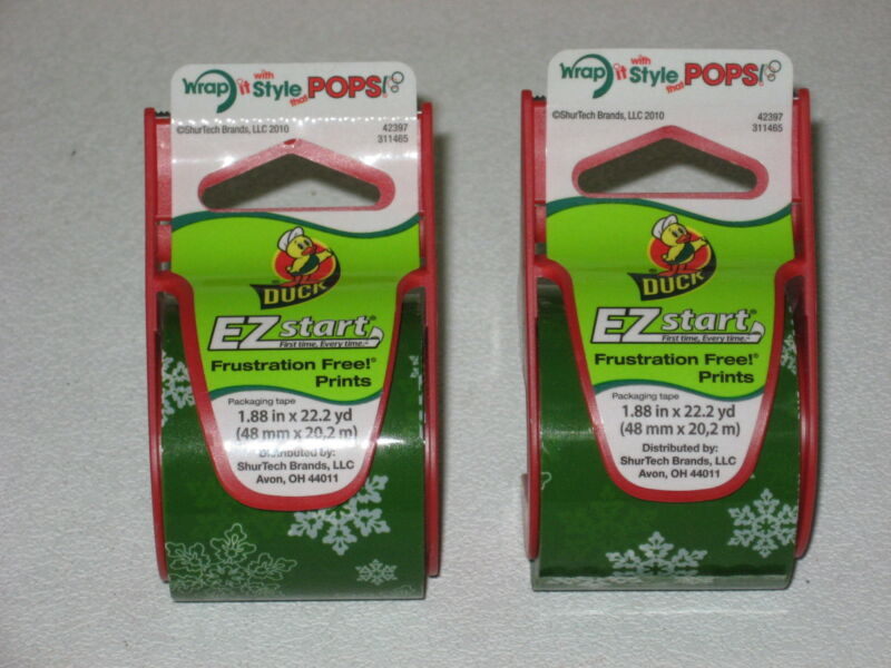 """2 DUCK BRAND DECORATIVE SNOWFLAKE PACKAGE GIFT TAPE DISPENSERS 1.88"""" x 22.2yd"""