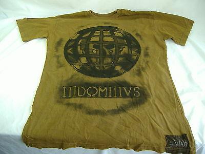 Mens Xl Indominus Gothic Prison Planet Skulls Dark Brown Shirt Dominus Tattoo 50