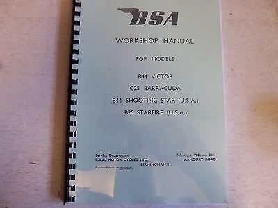 BSA C25 B25 B44 All Models Workshop Manual Factory Copy 1966-67 00-4136 - BW30