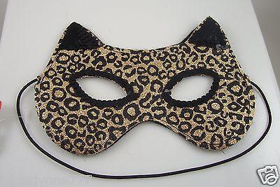 Cat Leopard glitter eye mask  mardigras costume Halloween trick or treat mardi g